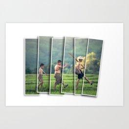 Cambodian farmer boys Art Print