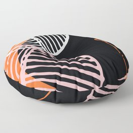 Mid-Century Modern Abstract In Mimosa Orange, Pink Champagne & Ebony Floor Pillow