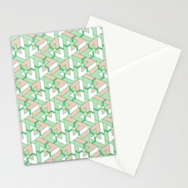 Triangle Optical Illusion Green Light Stationery Cards