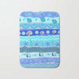 Ocean Theme Zentangle Pattern Bath Mat