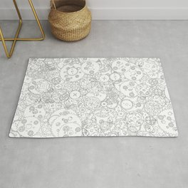 Clockwork B&W / Cogs and clockwork parts lineart pattern Rug