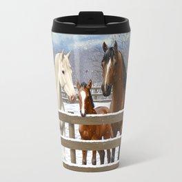 White Bay Appaoosa Horses In Snow Travel Mug