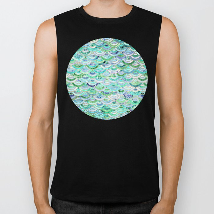 Marble Mosaic in Mint Quartz and Jade Biker Tank