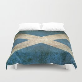 Old and Worn Distressed Vintage Flag of Scotland Duvet Cover