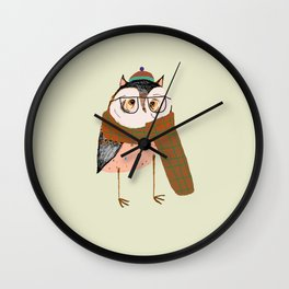 Owls Love Scarfs.  Wall Clock