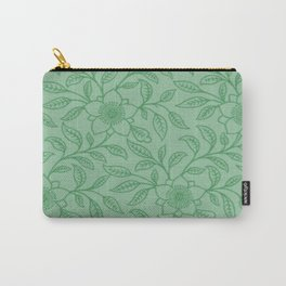 Green Lace Floral Carry-All Pouch