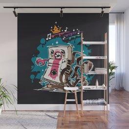 Cartoon Audio Cassette Tape on Dark Background Wall Mural