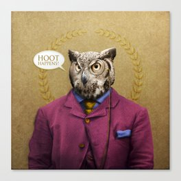 "Mr. Owl says: ""HOOT Happens!"" Canvas Print"