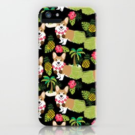 Corgi Hula Tropical Summer pineapple palm tree dog dogs pattern iPhone Case