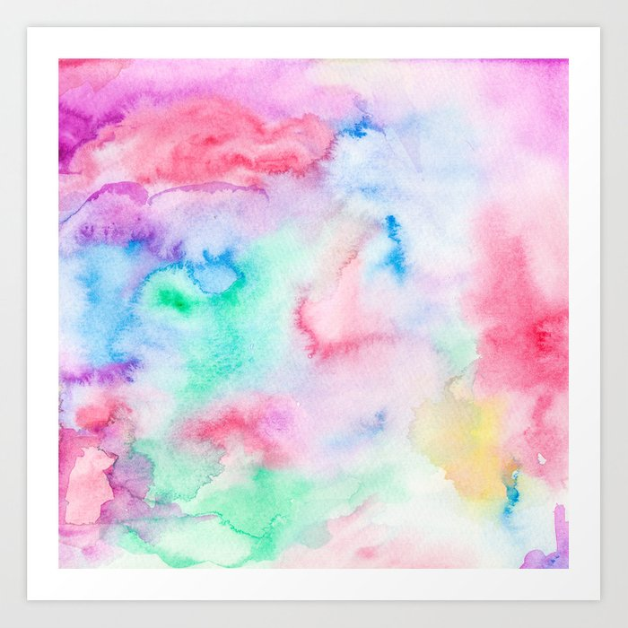 Bright abstract pink blue hand painted watercolor Art Print