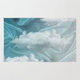 """""""Blue pastel spring sky with clouds"""" Rug"""