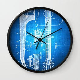 Gibson Thaddeus J Mchugh Guitar Patent Blueprint Drawing Wall Clock