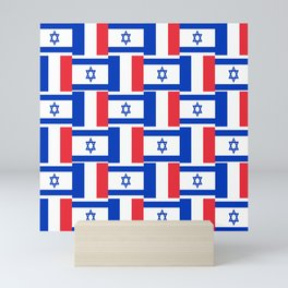 Mix of flag : france and israel Mini Art Print
