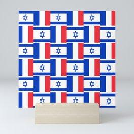 Mix of flag: france and israel Mini Art Print