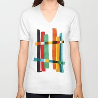broken V-neck T-shirts featuring Broken Fences by Picomodi