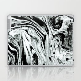 marble black and white minimal suminagashi japanese spilled ink abstract art Laptop & iPad Skin