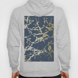 Kintsugi Ceramic Gold on Indigo Blue Hoody