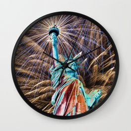 Dreaming Of Liberty Fireworks Wall Clock