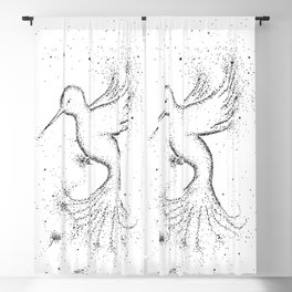 Bird Black and White Illustration Blackout Curtain