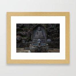 Yakcheonsa Buddha and Fountain Framed Art Print