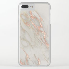 Marble - Rose Gold Marble Metallic Blush Pink Clear iPhone Case