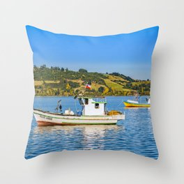 Fishing Boats at Lake, Chiloe, Chile Throw Pillow
