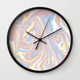Abstract modern coral white yellow blue watercolor marble Wall Clock