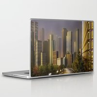cityscape Laptop & iPad Skins featuring Cityscape by Viggart