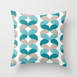 Abstract round teal geometric rows Throw Pillow
