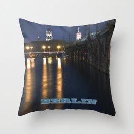Berlin Night Skyline on the River Spree Throw Pillow