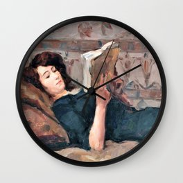 Reading Woman On A Couch - Digital Remastered Edition Wall Clock