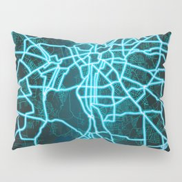 Leipzig, Germany, Blue, White, Neon, Glow, City, Map Pillow Sham