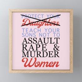 Women's Safety Feminist Artwork Pink Framed Mini Art Print