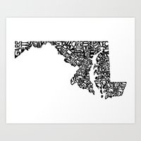 maryland Art Prints featuring Typographic Maryland by CAPow!