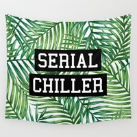 rap Wall Tapestries featuring Serial Chiller by Text Guy