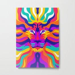 7 Color Pop Art Lion Metal Print