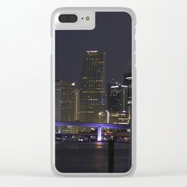 Miami Night Skyline Clear iPhone Case