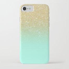Modern gold ombre mint green block iPhone Case