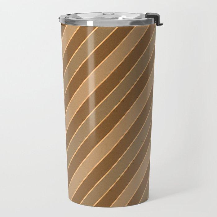 Brown stripes pattern Travel Mug