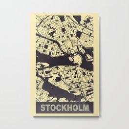 Stockholm, Sweden, city map, Peach-Yellow Metal Print