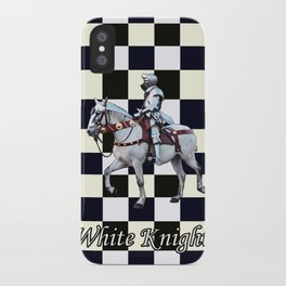 Knight on white horse with Chess board iPhone Case