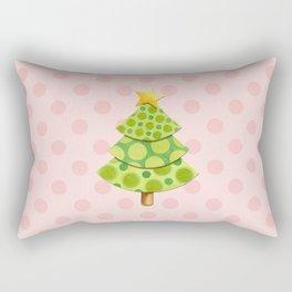 Pink Polka Dots Christmas Rectangular Pillow