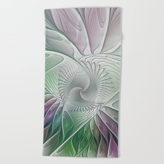 Colorful Fantasy Flower, Abstract Fractal Art Beach Towel
