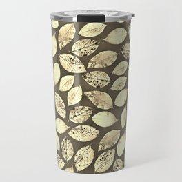 Seamless Sepia Leaf Pattern Travel Mug