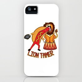 Lion Tamer Hot Dog Putting His Head Into A Lions Mouth Funny graphic iPhone Case