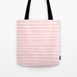 White lines on blush Tote Bag