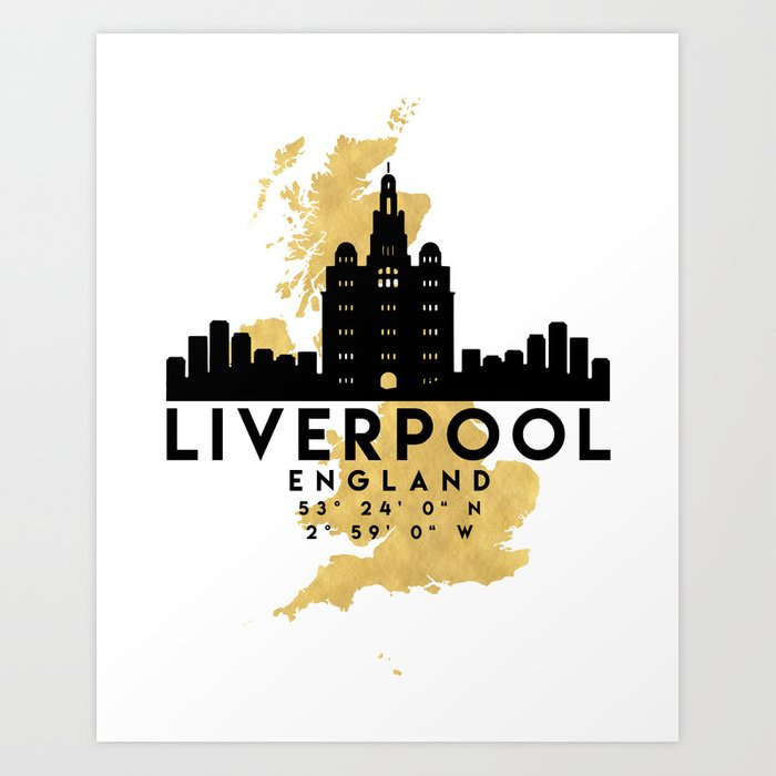 LIVERPOOL ENGLAND SILHOUETTE SKYLINE MAP ART Art Print by ...