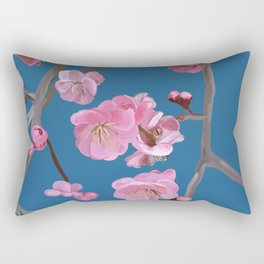 painted plum blossom blue Rectangular Pillow