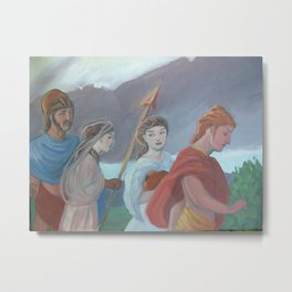 Oil sketch for Four Walking Deities Metal Print