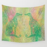 greyhound Wall Tapestries featuring A Greyhound for All Seasons - Spring by Lotti Brown